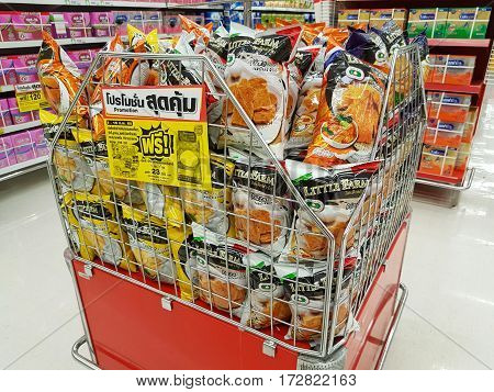CHIANG RAI THAILAND - FEBRUARY 15 : toasted bread in packaging for sale on supermarket stand or shelf on February 15 2017 in Chiang rai Thailand.