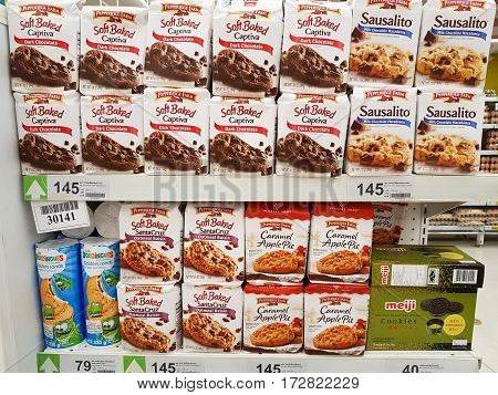 CHIANG RAI THAILAND - FEBRUARY 15 : various brand of soft cookies in packaging for sale on supermarket stand or shelf on February 15 2017 in Chiang rai Thailand.