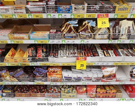 CHIANG RAI THAILAND - FEBRUARY 15 : various brand of chocolate in packaging for sale on supermarket stand or shelf on February 15 2017 in Chiang rai Thailand.