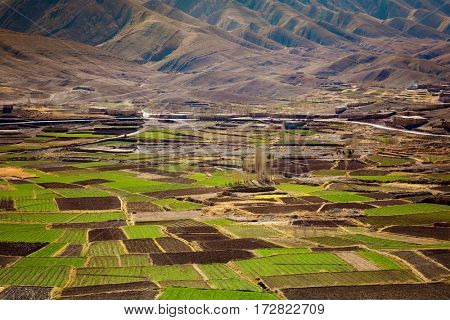 Agriculture Atlas Valley landscape, Morocco. Panoramic Aerial view of Fertile valley .