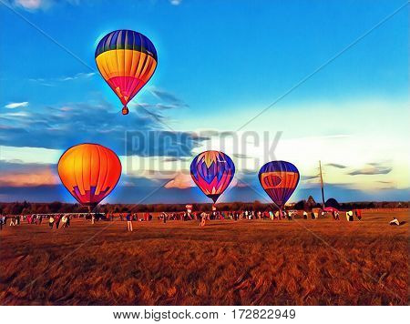 Air balloon flying in the blue sky. Vibrant air balloons float exhibition in the countryside field. Romantic travel transport. Sunset sky with flight vehicle. Beautiful sky view with zeppelins image