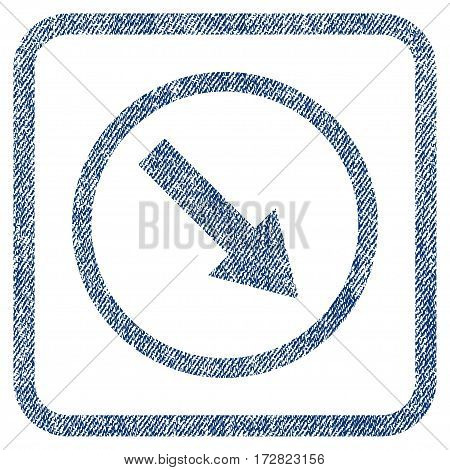 Down-Right Rounded Arrow vector textured icon for overlay watermark stamps. Blue jeans fabric vectorized texture. Symbol with dust design inside rounded rectangle.