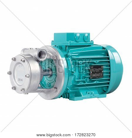 Stainless Steel Water Pump Isolated On White Background. Multiphase Wastewater Pump. Stainless Steel