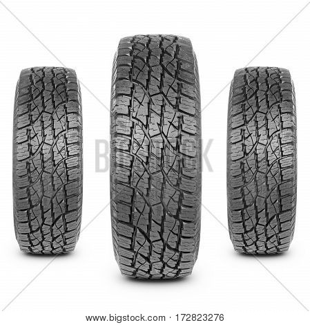 Three Car Tires Isolated on White Background. Semi-Trailer Truck Tires. Tractor Tires. Black Rubber Truck Tire. Clipping Path