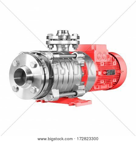 Water Pump Isolated On White Background. Multiphase Wastewater Pump. Red And Stainless Steel