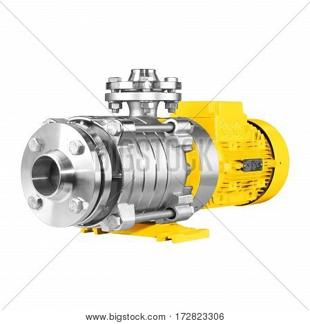Water Pump Isolated On White Background. Multiphase Wastewater Pump. Yellow And Stainless Steel
