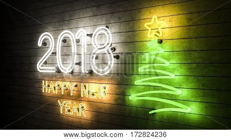 Happy New Year 2018. Neon shapes with lights Christmas tree with a star. 3d illustration.