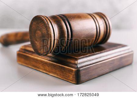 Judge gavel and sound block, closeup