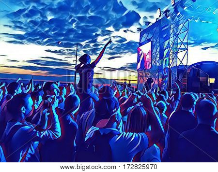 Young people crowd at a music concert near scene. Digital illustration of open air concert. Popular music concert with fan crowd in front of the scene. Happy people dancing image in disco neon colors