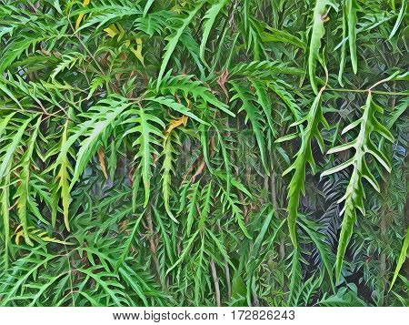 Bright leaves of tropical plant closeup image for background. Carved leaf botanical backdrop for gardening or jungle banner template. Green leaves digital illustration. Natural greenery wallpaper