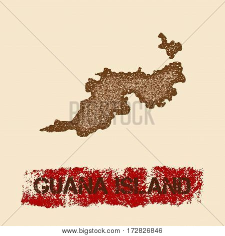 Guana Island Distressed Map. Grunge Patriotic Poster With Textured Island Ink Stamp And Roller Paint