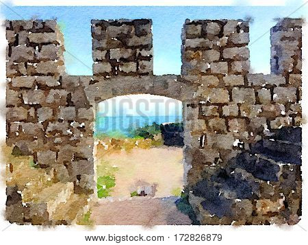 Digital watercolor painting of a stone castle wall with a door opening showing a view of the sea in Sesimbra Portugal. With space for text.