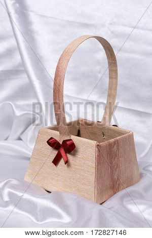 Paper Basket With Red Bow For Flower Arrangements