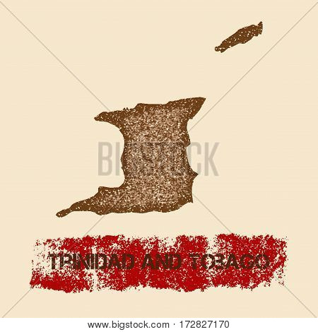 Trinidad And Tobago Distressed Map. Grunge Patriotic Poster With Textured Country Ink Stamp And Roll