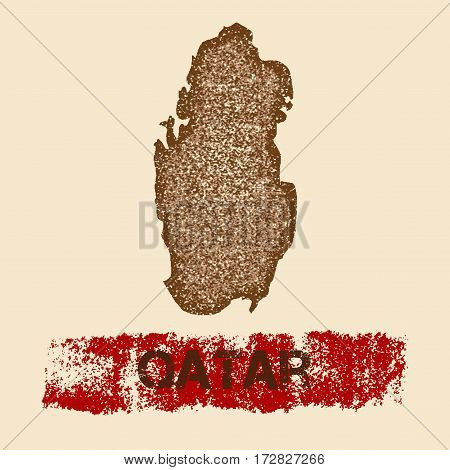 Qatar Distressed Map. Grunge Patriotic Poster With Textured Country Ink Stamp And Roller Paint Mark,