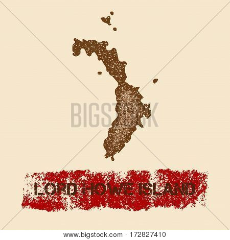 Lord Howe Island Distressed Map. Grunge Patriotic Poster With Textured Island Ink Stamp And Roller P