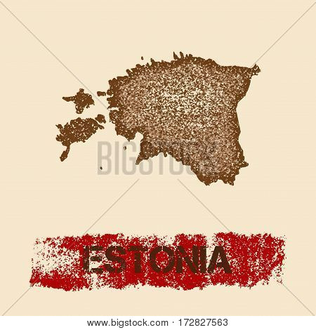 Estonia Distressed Map. Grunge Patriotic Poster With Textured Country Ink Stamp And Roller Paint Mar