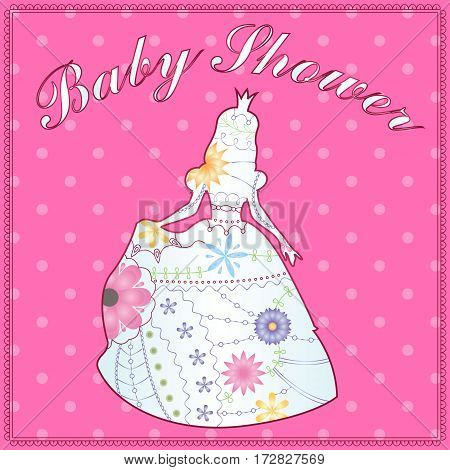 Vector isolated princess gradient silhouette baby shower