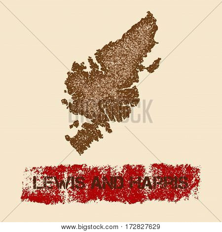 Lewis And Harris Distressed Map. Grunge Patriotic Poster With Textured Island Ink Stamp And Roller P