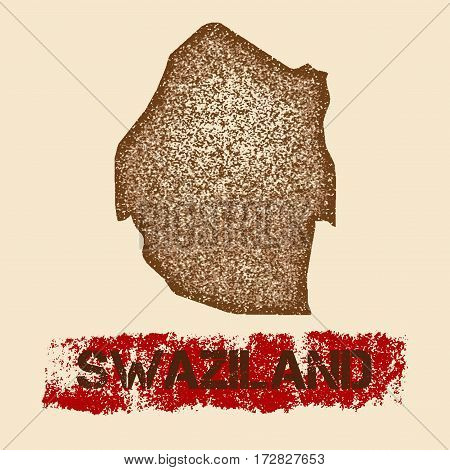 Swaziland Distressed Map. Grunge Patriotic Poster With Textured Country Ink Stamp And Roller Paint M