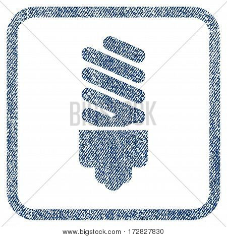 Fluorescent Bulb vector textured icon for overlay watermark stamps. Blue jeans fabric vectorized texture. Symbol with dust design inside rounded rectangle.