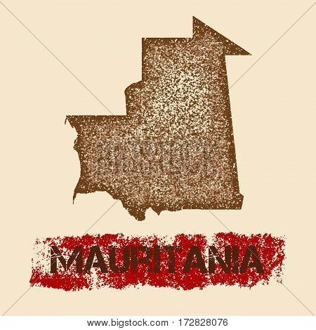 Mauritania Distressed Map. Grunge Patriotic Poster With Textured Country Ink Stamp And Roller Paint