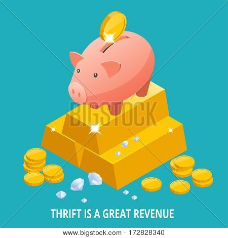 Isometric Piggy bank, gold bullion, diamond and coins icon. Thrift is a great revenue.