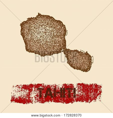 Tahiti Distressed Map. Grunge Patriotic Poster With Textured Island Ink Stamp And Roller Paint Mark,