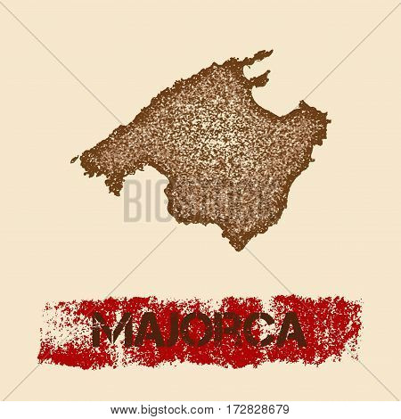 Majorca Distressed Map. Grunge Patriotic Poster With Textured Island Ink Stamp And Roller Paint Mark