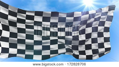 Checkered Flag, End Race Background, Formula One Competition Under Sun Rays Light