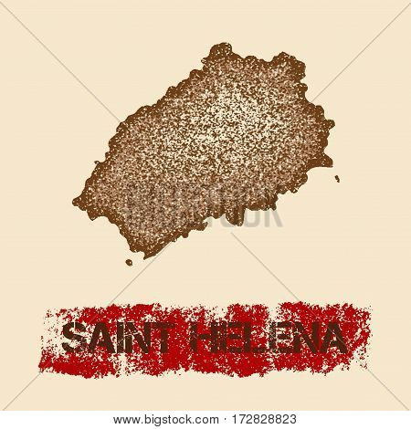 Saint Helena Distressed Map. Grunge Patriotic Poster With Textured Island Ink Stamp And Roller Paint