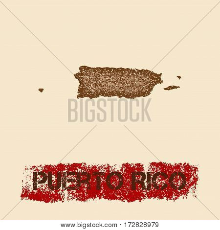 Puerto Rico Distressed Map. Grunge Patriotic Poster With Textured Country Ink Stamp And Roller Paint