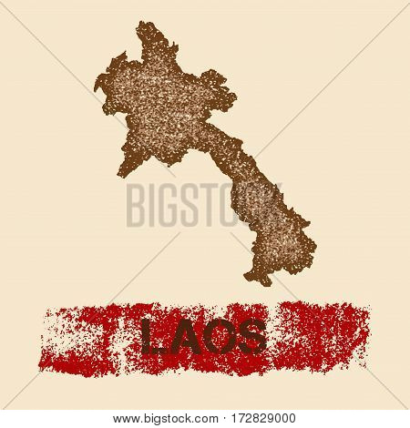 Laos Distressed Map. Grunge Patriotic Poster With Textured Country Ink Stamp And Roller Paint Mark,