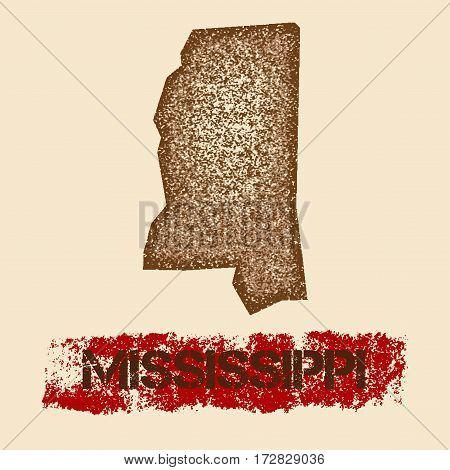 Mississippi Distressed Map. Grunge Patriotic Poster With Textured State Ink Stamp And Roller Paint M