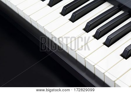 the a piano keys closeup on dark background