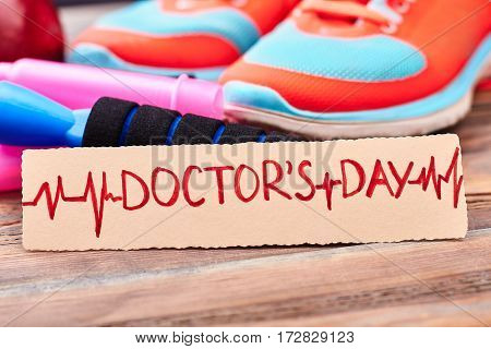 Gumshoes and jump rope. Doctor's Day and healthy lifestyle.