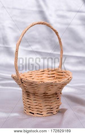 Woven Basket For Wedding Birthday Flower Arrangement On White Sa