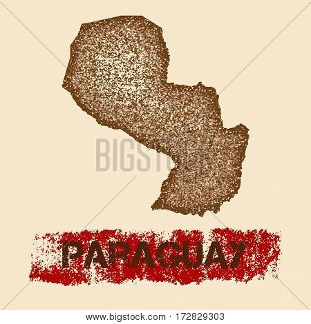 Paraguay Distressed Map. Grunge Patriotic Poster With Textured Country Ink Stamp And Roller Paint Ma