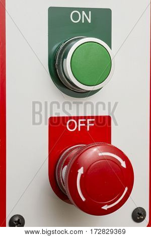 On Off mechanical real green red industrial machinery switch graphic