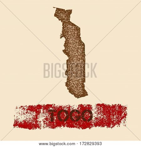 Togo Distressed Map. Grunge Patriotic Poster With Textured Country Ink Stamp And Roller Paint Mark,