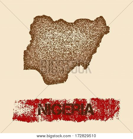 Nigeria Distressed Map. Grunge Patriotic Poster With Textured Country Ink Stamp And Roller Paint Mar