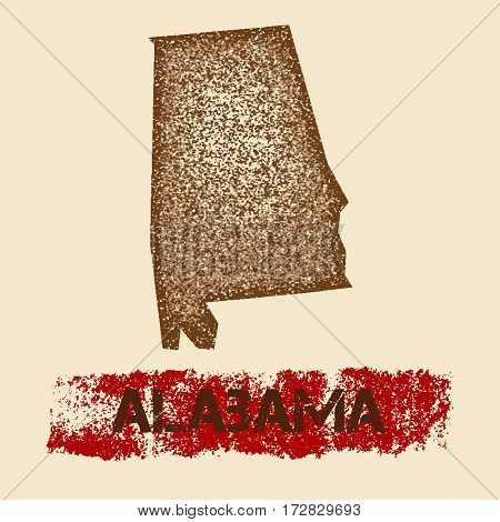 Alabama Distressed Map. Grunge Patriotic Poster With Textured State Ink Stamp And Roller Paint Mark,