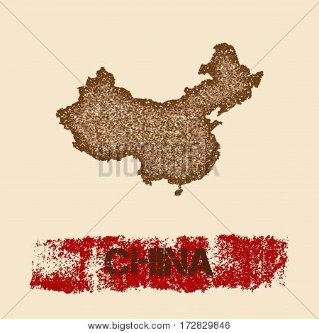 China Distressed Map. Grunge Patriotic Poster With Textured Country Ink Stamp And Roller Paint Mark,