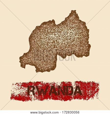 Rwanda Distressed Map. Grunge Patriotic Poster With Textured Country Ink Stamp And Roller Paint Mark