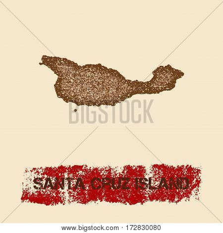 Santa Cruz Island Distressed Map. Grunge Patriotic Poster With Textured Island Ink Stamp And Roller