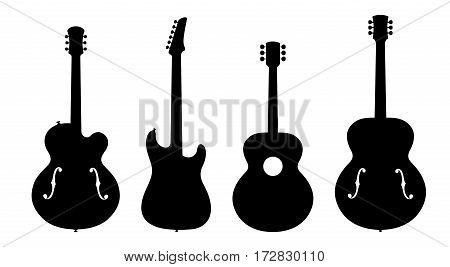 Vector Illustration Of Four No Name No Brand Imaginary Jazz Guitar Silhouettes.