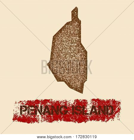 Penang Island Distressed Map. Grunge Patriotic Poster With Textured Island Ink Stamp And Roller Pain