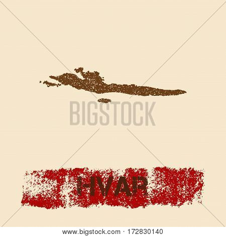 Hvar & Dalmatian Islands Distressed Map. Grunge Patriotic Poster With Textured Island Ink Stamp And
