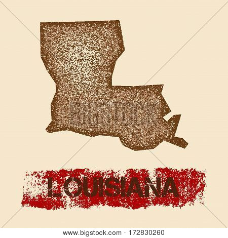Louisiana Distressed Map. Grunge Patriotic Poster With Textured State Ink Stamp And Roller Paint Mar