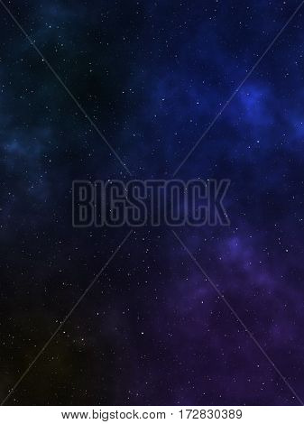 Space with a star background and colorful nebulae. 3D rendering